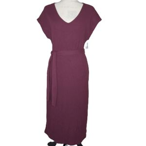 OLD NAVY Maroon Belted Cap Sleeve Maxi Dress Small